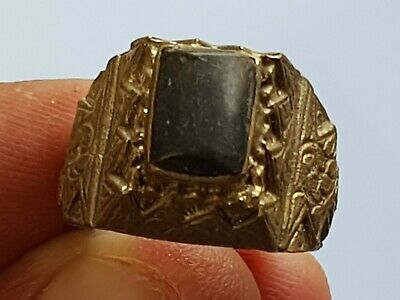 Stunning Very Rare Medieval Silver Ring Superb Rare Stone.7,7 Gr.19 Mm