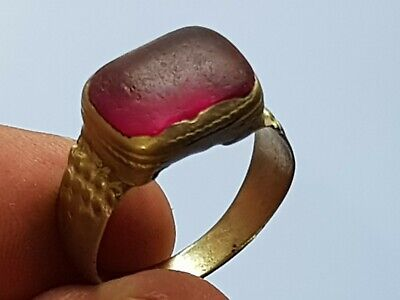 Fantastic Rare Medieval Silvered Ring Superb Rare Stone.5,2 Gr.21 Mm