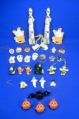 Halloween Tree Mini Ornaments Lot Of 31 Jingle Bell-Resin-Felted & Wood