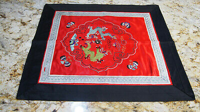 Very Old Antique Chinese Tapestry Embroidery Cloth Mat Red Black Dragon Silk