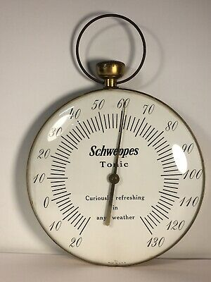 """12"""" Wall Thermometer SCHWEPPES Tonic  Vintage Pocket Watch Shape"""