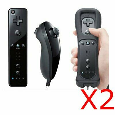 2X Remote Wiimote and Nunchuck Nunchuk Controller For Nintendo WII BLACK