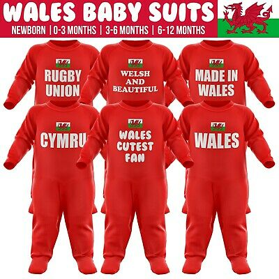 Wales Baby Grow Romper Suits Cymru Rugby Gift Newborn Body Suit Red All Sizes