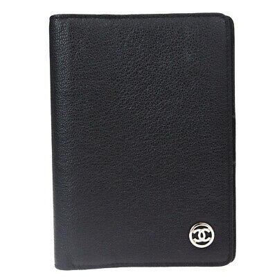 Auth CHANEL CC Agenda Day Planner Notebook Cover Leather Black Italy 69SA357