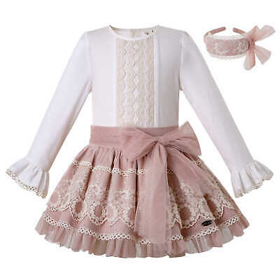 Kids Girls Spanish Blouse Skirt Sets Lace Outfits Christmas Party Pageant Autumn
