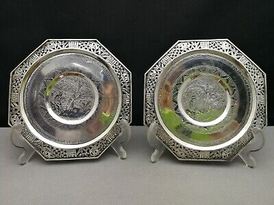 a pair early 20th  antique Old Chinese deep carved silver plate - silver tested