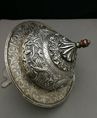 19th  antique Old Chinese deep carved silver cup lid/cover - silver tested