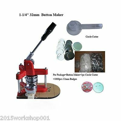 32mm Pin Button Maker Machine Badge Maker 500x Blank Materials One Cutter DE