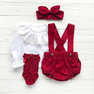 Christmas Newborn Baby Girl Outfits Lace Tops Pants Overalls Headband Clothes UK