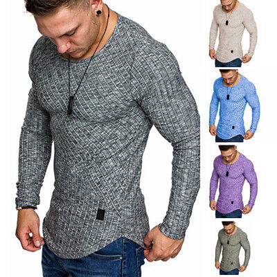 Mens Long Sleeve Casual T Shirt Casual Gym Slim Fit Muscle Tee Tops Blouse M-2XL