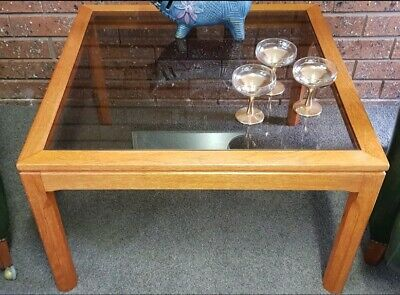 Vintage Mid Century Modern SQUARE TEAK COFFEE TABLE Glass & Timber Retro 70s