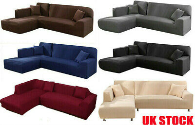 L Shape Elastic Couch Cover Stretch Fabric Corner Sofa Cover Sectional 2-4Seater