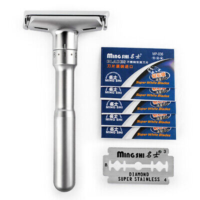 Files Adjustable Double Edge  Safety Razor With 5 Blades Hair Removal Shaver