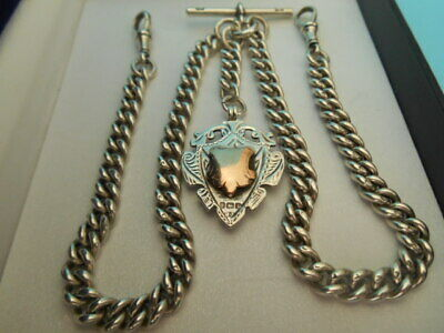 ANTIQUE SOLID SILVER DOUBLE ALBERT POCKET WATCH CHAIN & FOB NOT SCRAP 66.1gm