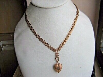 Antique Victorian Rose Gold Bookchain Necklace w Puffy heart Photo Locket Charm
