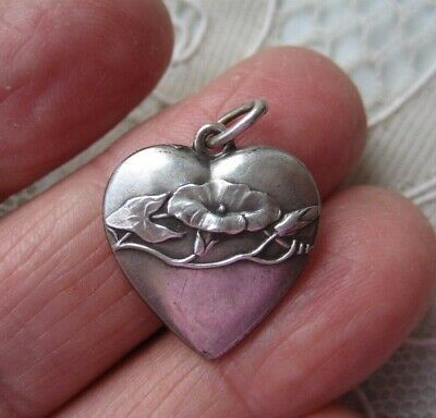 Antique Victorian Art Nouveau French 800 Silver Puffy Flower Heart Charm