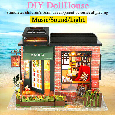 Music Wooden Dolls House Doll House DIY Light Miniature Dollhouse w/ Furniture