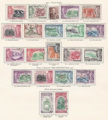 British Commonwealth. Dominica  George VI 1951 issues. Used.