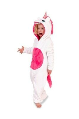 Girls Novelty 3D Hood White & Pink Unicorn Cosy Fleece All In One Sizes Age 5-10
