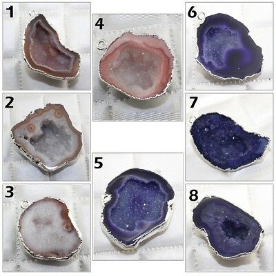 Big Natural Geode Agate Druzy Silver Plated Connector Making DIY Pendant Jewelry