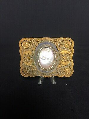 Antique Makeup Mirror Compact Vintage Gold Tone Made In Italy by Lucchesi