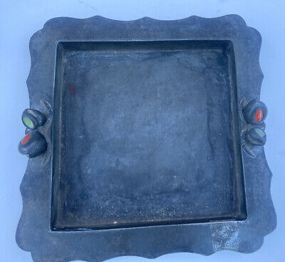 Antique Chinese Iron Tray With Semi Precious Stones