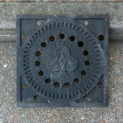 Original Victorian Cast Iron Coal Hole Cover Square