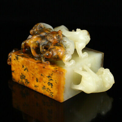 """3"""" Chinese Natural handcarved old antique hetian jade five beast statue seal"""