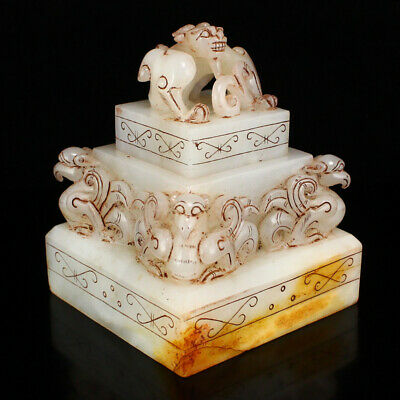 """3"""" China Natural carved old antique hetian jade Double deck beast statue seal"""