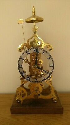 SCROLL FRAME SKELETON CLOCK  and mainspring winder by John Wilding F.B.H.I.