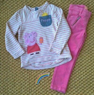 Girls Peppa Pig OUTFIT top from Next with Cords 3- 4 years EX USED CONDITION