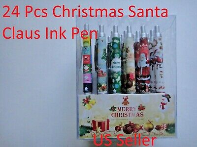 24X-BLACK Ballpoint Christmas Santa Claus gift Ink Pen w. silver clip US Seller