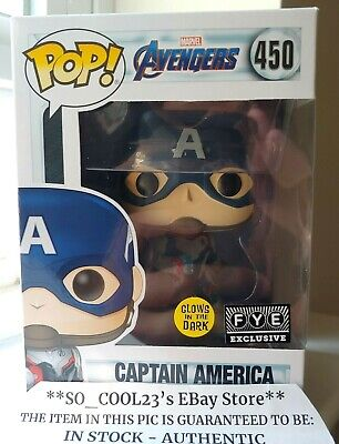 Funko Pop Captain America Fye Glow In The Dark Exclusive Avengers Endgame Figure