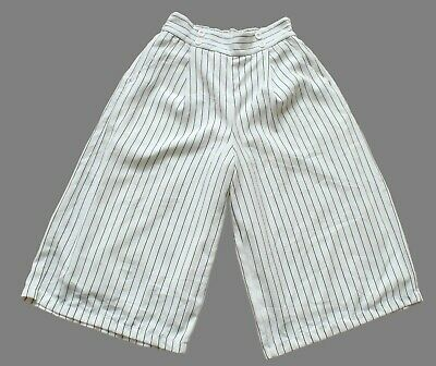 Women's Ladies Vintage White Pinstriped Culotte Shorts Retro 10