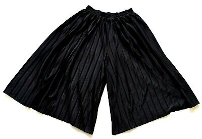 Women's Ladies Vintage Black Lightly Pleated Culotte Shorts Retro 12