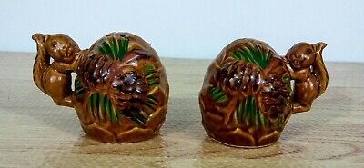 Vintage Squirrel with Nut Salt & Pepper Shakers Hand Painted Ceramic Japan