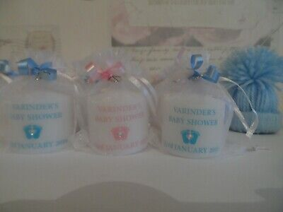 Personalised Set of 10 Pink Baby Shower / Gender Reveal Candle Favours