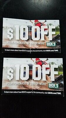 2 Dick's Sporting Goods $10 off $50 coupons expire 1/31/20 SAVE $20 STORE ONLY!