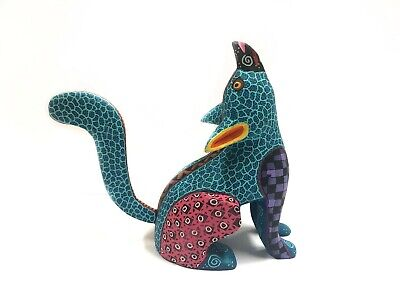 Alebrije Handmade Wooden Carving Fox, Mexican Alebrije, Signed by Artisan