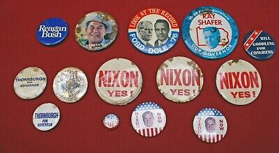 Vintage Lot of 14 Political Buttons Nixon Ford Dole Reagan Thornburgh Pinback