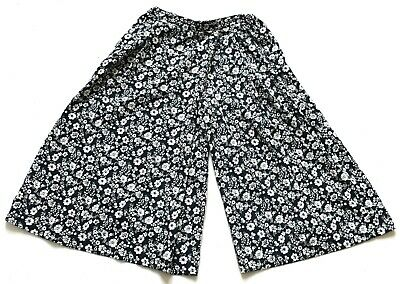 Women's Ladies Vintage Black White Floral Wide Leg Culotte Shorts Retro Boho 12