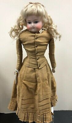 "23.5"" Antique German Bisque Early Turned Head CM ABg Antique Clothing Mohair SC2"