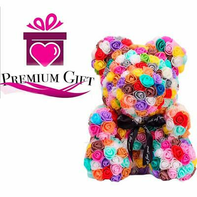 Rose Teddy Bear with Heart Forever Artificial Rose Anniversary Valentine Gift