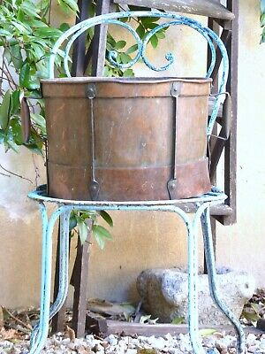 """Late 18th Century 13"""" Large Antique French Copper Rustic Pot Garden"""