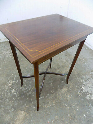 antique,edwardian,inlaid,mahogany,side table,end table,splayed legs,table,banded