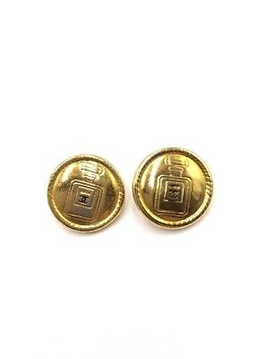 Vintage Chanel Gold tone Buttons Printed Perfume Bottles 2pc