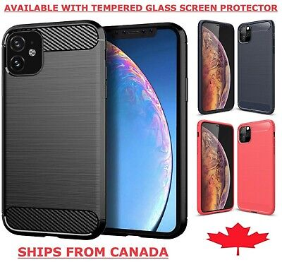 iPhone 11 / Pro / Max Case Carbon Fibre TPU Heavy Duty Cover Tempered Glass