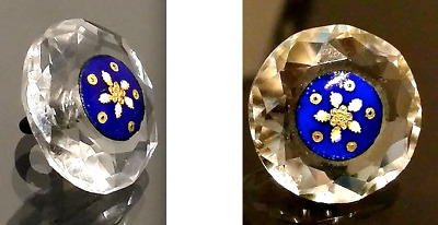 SPECIAL Antique Button…Faceted Crystal Glass with Fancy Enamel Pinshank Center