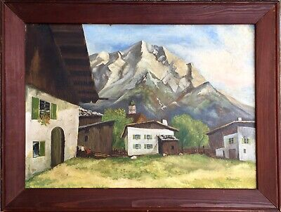 Antique Old Swiss Alps Mountain Landscape Oil Painting Realism Signed Degenhardt