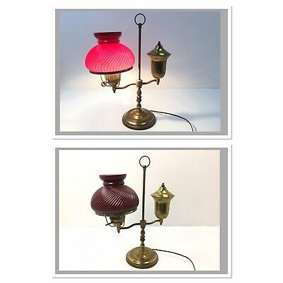 Antique Harvard Student Brass Oil Lamp (Converted) with DARK RUBY TWISTED Shade